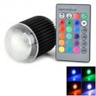XLZM-RGB9QPD-YK E27 9W 350lm 1-LED RGB Light Bulb w/ Remote Control - Black + Silver (Rated Voltage)