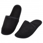 Wellhouse WH-00201 Convenient Cozy Folding Velvet + Synthetic Fiber Slippers + Pouch - Black