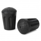 PVC Trekking Pole Round Non-slip Protection Cap - Black (2 PCS)