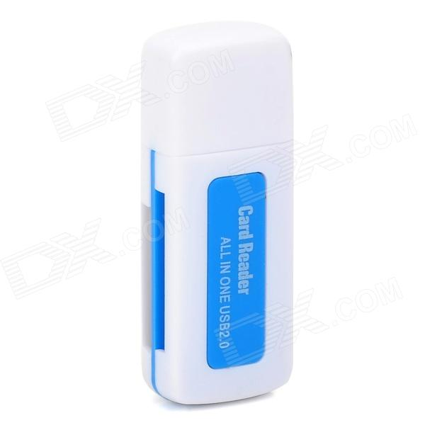 Multifunction 480Mbps USB 2.0 SD/MS/TF/M2 Card Reader - Blue + White