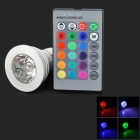 XLZM-RGB3E27 E27 3W 180lm 1-LED RGB Light Bulb w/ Remote Control - Silver (Rated Voltage)