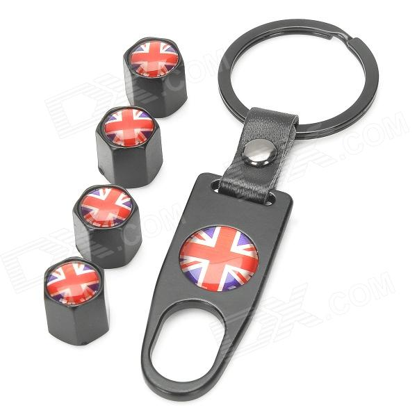 UK Flag Pattern Tire Valve Caps + Wrench Keychain