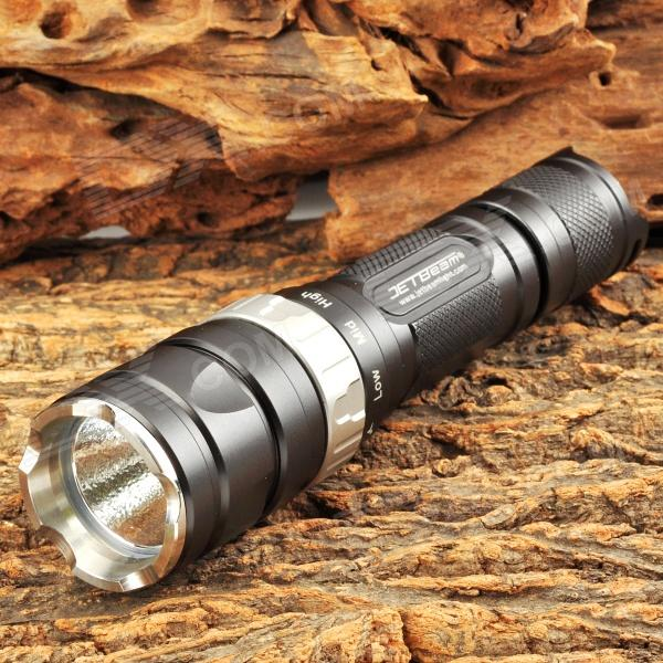 JETBeam RRT2 460lm 4-Mode White Flashlight w/ Cree XM-L T6 - Black (1 x 18650 / 2 x CR123) jetbeam rrt26 white rgb 980lm 5 mode tactical flashlight w cree xm l2 3 led black 1 x 18650