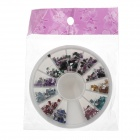 Square 12-Color Nail Art Acrylic Artificial Diamond Kit - Multicolored