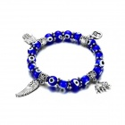 eQute BGEW2C5 Fashionable Evil Eye Round Beaded Stretch Bracelet for Women - Blue + Silver + White