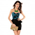 LC2741-3 Fashionable Sexy Women's Sequin Top Peplum Dress - Blue + Black (Size M)
