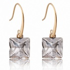 Mushaffer European American Classic Fashionable Stud Earrings - Golden + Transparent (Pair)