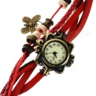 Fashionable Retro Style PU leather Band Women's Quartz Analog Wrist Watch - Red + Bronze (1 x 626)
