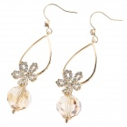 Elegant Charming Shiny Rhinestone Decorated Women's Earrings - Golden + Transparent (Pair)