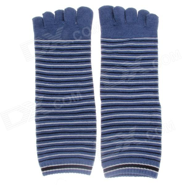 Fashionable Men's Wool Toe Socks - Blue + Black + White (Pair) men and women before the summer half foot contact sock toe toe socks fingerless half finger five toe fish mouth yoga