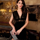 LC2937 Sexy Women's Sequin V-Neck Sleeveless Dress - Golden + Black (Free Size)