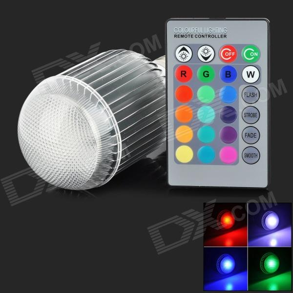 XLZM-RGB9QPD-YK E27 9W 350lm 1-LED RGB Light Lamp Bulb - White + Silver (Rated Voltage) - DXE27<br>Brand N/A Model XLZM-RGB9QPD-YK Material Aluminum Color White + silver Quantity 1 Emitter Type LED Total Emitters 1 Power 9 W Color BIN RGB Rate Voltage 85~265 V Chip Working Voltage 3~3.3V Luminous Flux 350 lm Color Temperature No K Wavelength Red: 635~655nm green: 515~525nm blue: 455~465 nm Connector Type E27 Application Home lighting Packing List 1 x Bulb 1 x Remote control (1 x CR2025 battery included)<br>
