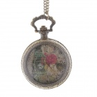 Stylish Bell Tower Pattern Style Women's Necklace Analog Quartz Pocket Watch - Bronze (1 x 377S)