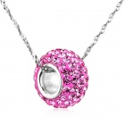 "eQute PSIW302C4 S925 Sterling Silver Pendant Necklace - Pink + Silver (18"")"