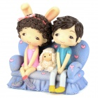 Romantic Resin Lovers On the Sofa Style Doll Gift - Light Purple + Pink + Black