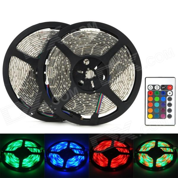 Waterproof 60W 3600lm 600-3528 SMD LED RGB Flexible Strip Lamp w/ 24-Key Controller (100~240V)