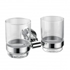 Stainless Steel Double Tumbler Holder w/ Glass Cups - Silver (200ml)