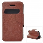 Protective PU Leather Case for iPhone 4 / 4S - Brown
