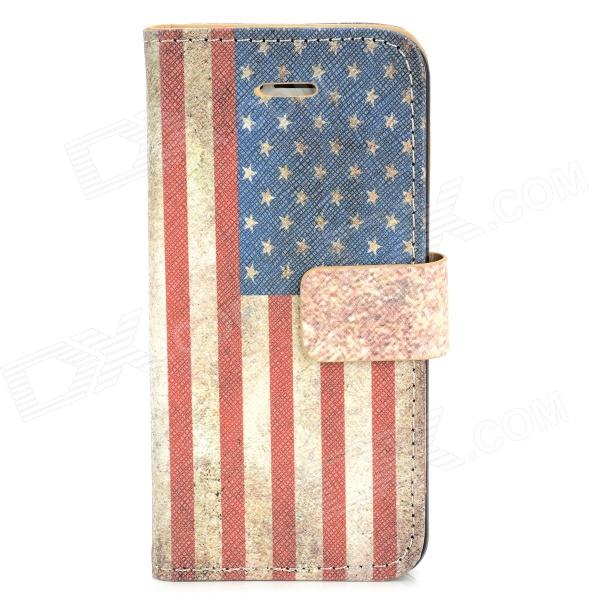 Protective American Flag Pattern PU Leather Flip Open Case for Iphone 5 - Beige + Red + Blue polka dots pattern pu leather flip open protective case for iphone 5 red