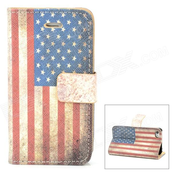 Protective American Flag Pattern PU Leather Flip Open Case for Iphone 4 / 4S - Beige + Red + Blue protective pu leather flip open case for iphone 4 4s black