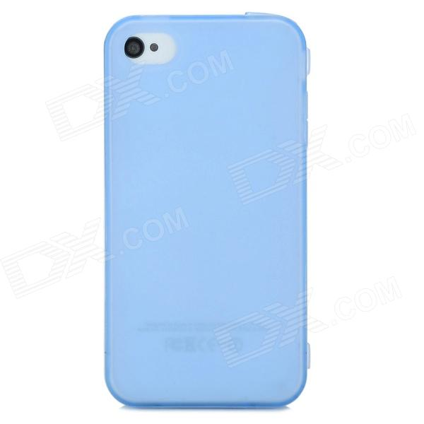 Protective TPU Full Body Case for Iphone 4 / 4S w/ 3.5mm + 30pin Dust Plug - Blue + Transparent s what protective tpu back case w anti dust plug for iphone 5 5s transparent purple