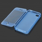 Protective TPU Full Body Case for Iphone 4 / 4S w/ 3.5mm + 30pin Dust Plug - Blue + Transparent