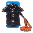 Plastic Back Case + PU Leather Jacket Accessory w/ Strap for Iphone 4 / 4S - Black + Blue + Orange