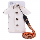 Plastic Back Case + PU Leather Jacket Accessory w/ Strap for Iphone 4 / 4S - White + Silver + Orange
