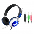 CHENYUN CY-714 Stereo Headphones w/ Microphone + Volume Control - White + Blue (3.5mm Plug / 2m)