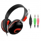 CHENYUN CY-708 Stereo Headphones w/ Microphone + Volume Control - Black + Red (3.5mm Plug / 2m)