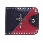 SE323 Fashionable High-Grade Head Layer Cowhide Folding Men's Wallet - Black + Red