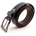 T.acttion 906312 Fashionable Cow Split Leather Men's Waist Belt w/ Zinc Alloy Buckle - Dark Brown