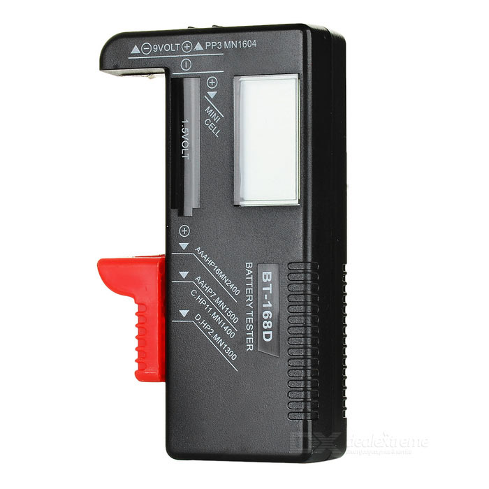 "3.5"" LCD Digital Battery Power Level Tester - Black"