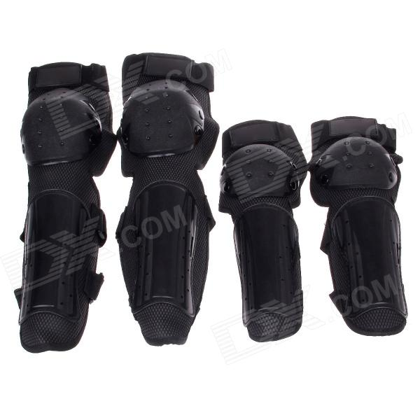 Motorcycle Sports Protective Elbow Guard + Knee Pad Set - Black (4 PCS)