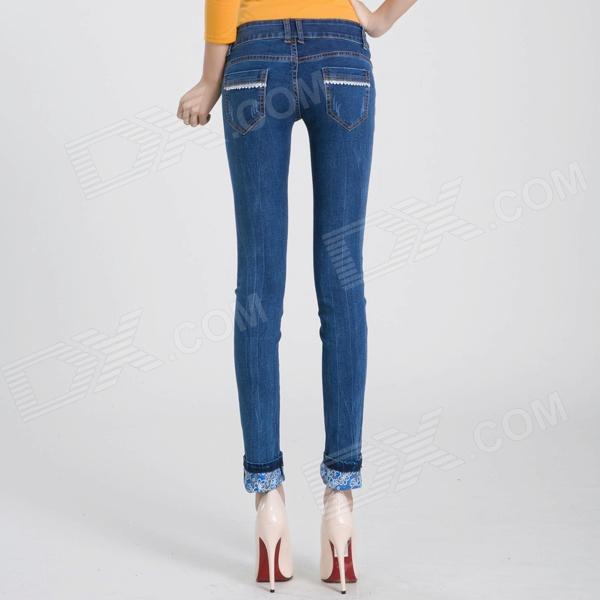 2209 Fashionable Trend Sexy Flower Leg Opening Jeans - Blue (Size ...