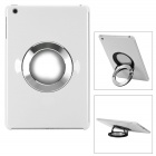 Protective Back Case w/ 360 Degree Rotatable Round Stainless Steel Holder for Ipad MINI - White