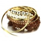 eQute BPEW2C9 Fashionable Lace Pearl Multilayer Bracelet for Women - Golden + Brown