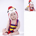 Cute Bear Style Cotton Earmuff Cap Hat for Kid - Red + Yellow + White + Blue