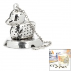 Duck Style Stainless Steel Tea Leaf Infuser Filter Tool w/ Stand - Silver