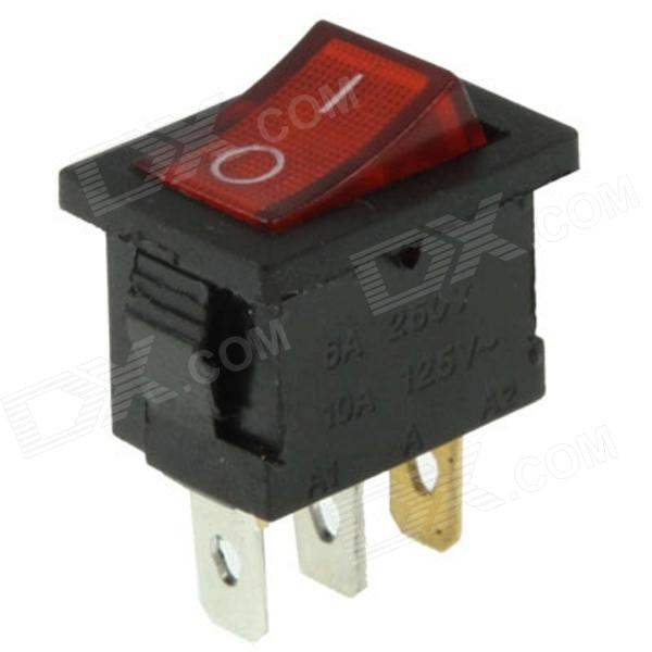 Rocker Switch 3-Pin ON / OFF - Red + Black (6A, AC 250V / 10A, AC 125V)