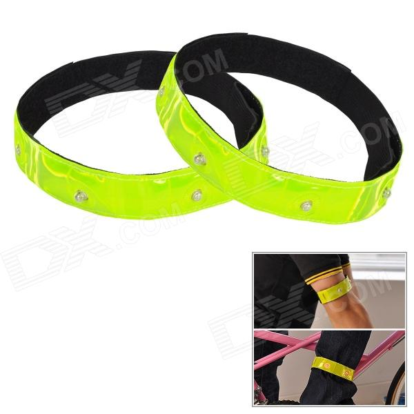 FLY WOLF KNIGHT TQ-403 Reflective Arm / Pants Leg Band w/ LED Light for Cycling - Green + Black
