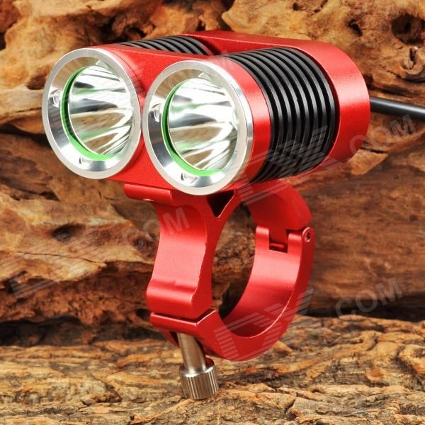 1300lm 4-Mode White Bicycle Light w/ 2 x Cree XM-L U2 - Red + Black + Silver (4 x 18650) 600lm 3 mode white bicycle headlamp w cree xm l t6 black silver 4 x 18650