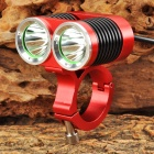2 x Cree XM-L U2 1300lm 4-Mode White Bicycle Light - Red + Black + Silver (4 x 18650)