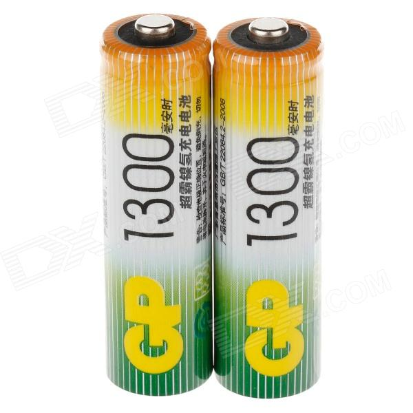 GP 1.2V 1300mAh Ni-MH Rechargeable AA Batteries - (2 PCS) electric drill battery 18v 2500mah ni mh cd for bosch bat025 bat026 bat160 bat180 bat181 bat189 2 610 909 020 2 5ah battery
