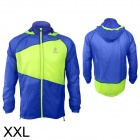 ARSUXEO 0015 Ultrathin Outdoor Running Nylon Jacket w/ Hood - Blue + Fluorescent Green (XXL)