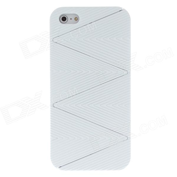 Detachable Wave Pattern Protective Plastic Back Case for Iphone 5 - White