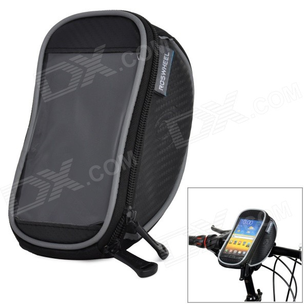 ROSWHEEL 11810 Cycling Bicycle Handlebar Bag w/ Cellphone Case - Black