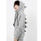 Cute Dinosaur Back Style Cotton Jersey w/ Hoodie - Gray (L)