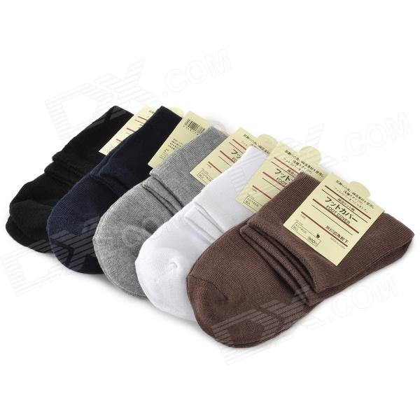 Casual Men's Cotton Socks - Black + White + Coffee + Dark blue + Grey (5 Pairs) outdoor sports five toe cotton socks black white grey free size 3 pairs