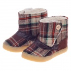 Plaid Pattern Magic Stick Style Cotton Baby Snow Boots - Brown (Size15 / Pair)